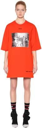 MSGM Printed Cotton Jersey T-Shirt Dress