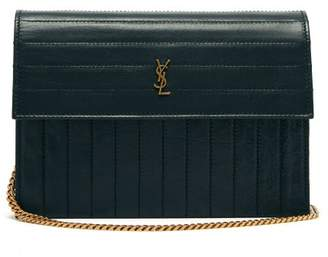 Saint Laurent Victoire Mini Quilted Leather Cross Body Bag - Womens - Dark Green