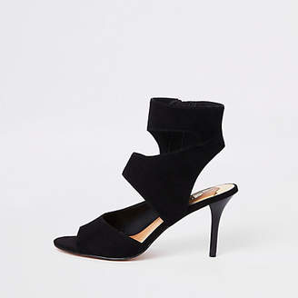 River Island Womens Black strap skinny heel mules
