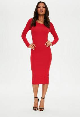 Missguided Red Long Sleeve Crew Neck Midi Dress