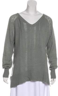 Raquel Allegra Distressed Long Sleeve Cashmere Sweater