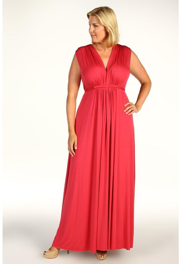 Rachel Pally Plus - Plus Size White Label Long Sleeveless Caftan (Strawberry) - Apparel
