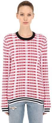 MSGM Logo Intarsia Cotton Rib Knit Sweater