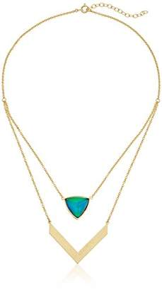 Color Changing 18k Gold-Plated Bronze Triangular Thermochromic Liquid Crystal and Created White Crystal Modern Mood Chevron Necklace