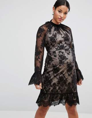 Asos High Neck Open Back Lace Mini Dress