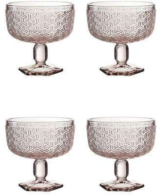 Jay Import Bistro Key Pink Pedestal Bowl - Set of 4
