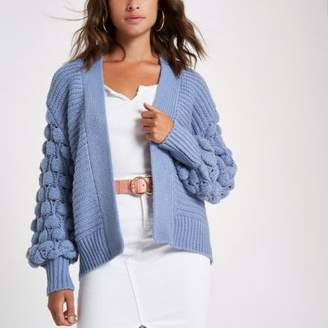 River Island Blue bobble heart knit cardigan