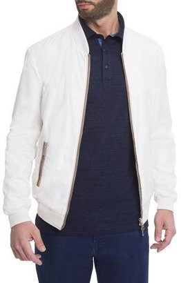 Stefano Ricci Silk Contrast-Piping Bomber Jacket, White $4,590 thestylecure.com