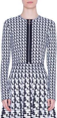 Akris Punto Soundboard Pattern Crop Cardigan