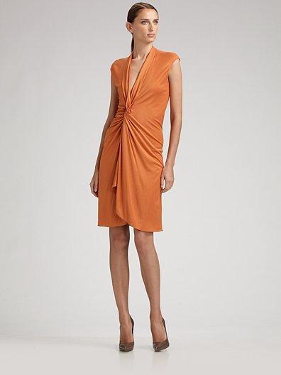 Yves Saint Laurent Cap-Sleeve Jersey Twist-Front Dress
