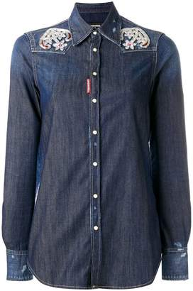 DSQUARED2 embroidered anchor Western shirt