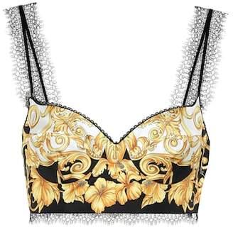 bb25f1286b at mytheresa · Versace Printed silk crop top