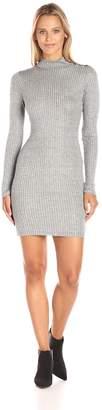 Blu Pepper Women's Long Sleeve Ribbed Fabric Turtle Neck Dress, Grey