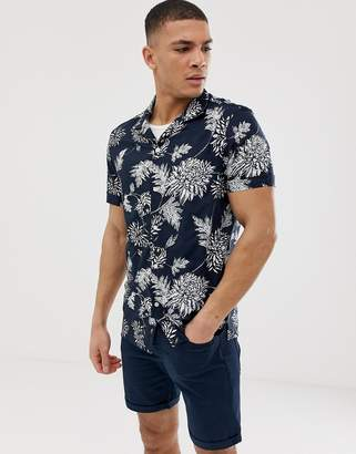 Burton Menswear revere shirt with large floral print in navy
