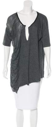 Raquel Allegra Distressed Short Sleeve Top