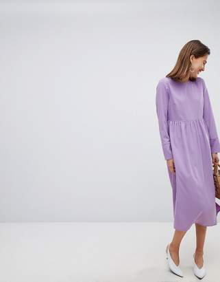 Pieces long sleeve midi smock dress in purple