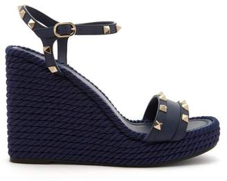 Valentino Torchon Rockstud Leather Wedge Sandals - Womens - Navy
