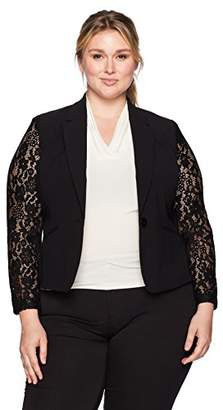 Nine West Women's Plus Size 1 Button Shawl Collar Jacket with Lace Sleeves