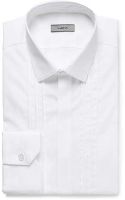 Lanvin White Slim-Fit Bib-Front Satin-Trimmed Cotton-Poplin Tuxedo Shirt - White