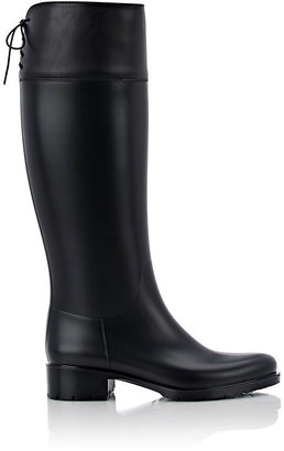 Barneys New York Women's Rubber & Leather Rain Boots-BLACK $195 thestylecure.com