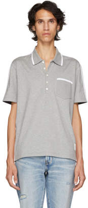Thom Browne Grey and Navy Bicolor Polo