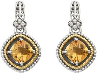 Sterling & 14K Cushion Gemstone Earrings