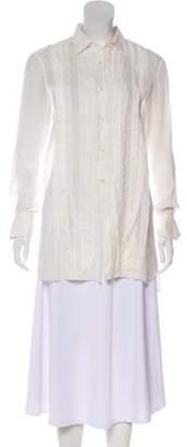 Lanvin Long Sleeve Point Collar Top