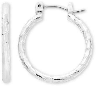Liz Claiborne Silver-Tone, Textured Hoop Earrings