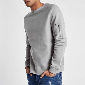 River Island Light grey zip pocket sleeve sweatshirt