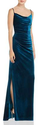 Laundry by Shelli Segal Ruched Velour Side Slit Dress - 100% Exclusive