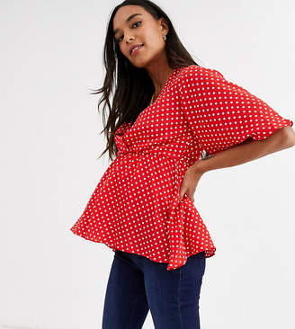 New Look Maternity belted peplum top in red polka dot