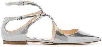 Jimmy Choo metallic silver lancer patent leather ballerina pumps