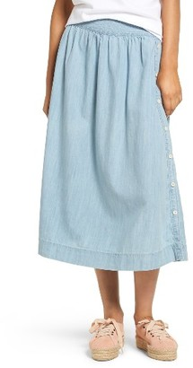 Women's Madewell Indigo Side Button Midi Skirt $98 thestylecure.com