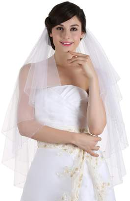 clear SAMKY 2T 2 Tier Crystal Beaded Wedding Veil - V315