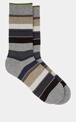Barneys New York Men's Striped Cotton-Blend Mid-Calf Socks - Gray