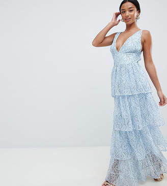 Missguided Petite Lace Tiered Maxi Dress