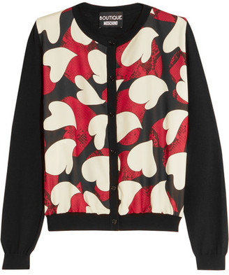 Boutique Moschino - Printed Crepe De Chine-paneled Wool Cardigan - Black $495 thestylecure.com