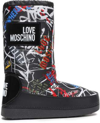 Love Moschino Appliqued Printed Shell Snow Boots