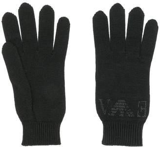 Emporio Armani rhinestone logo knitted gloves