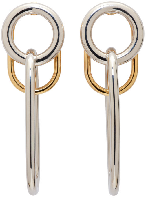 Alexander WangAlexander Wang Silver & Gold Triple Link Earrings