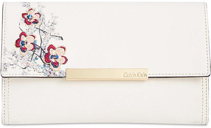 Calvin Klein Embroidered Floral Clutch