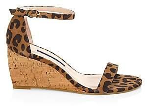 Stuart Weitzman Women's Nearlynude Leopard-Print Leather & Cork Wedges