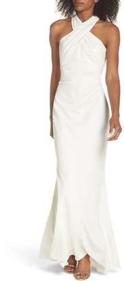 Eliza J Side Pleat Crossneck Gown