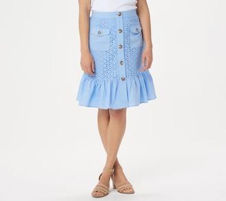 Isaac Mizrahi Live! Eyelet & Poplin Button Front Flounce Skirt