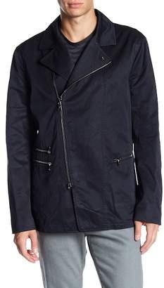 John Varvatos Collection Garment Washed Asymmetrical Slim Fit Biker Jacket