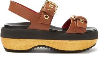 Marni Double Strap Buckled Leather Flatforms - Womens - Tan