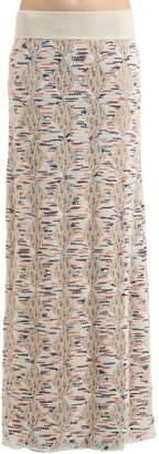 Missoni Wool Blend Open Lace & Tweed Knit Skirt