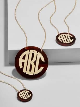 BaubleBar Acrylic Block Etched Monogram Pendant Necklace