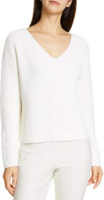 Eileen Fisher V-Neck Boxy Top Organic Cotton Blend Sweater