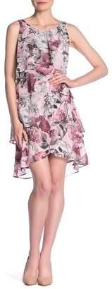 SL Fashions Floral Print Tier Dress